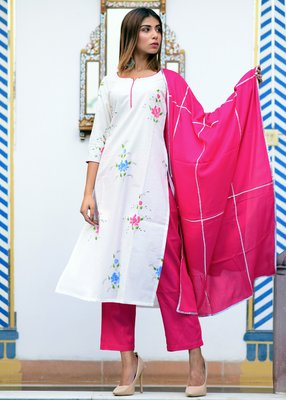 White printed cotton kurta with trouser and dupatta set