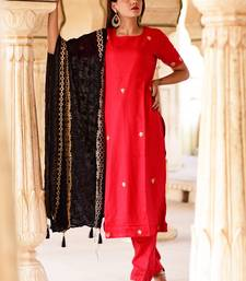 Red embroidered crepe kurta and trouser set