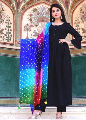Black plain crepe kurta with trouser and dupatta set