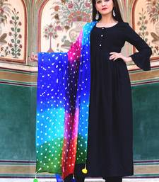 Black Plain Crepe Kurta With Trouser And Dupatta Set
