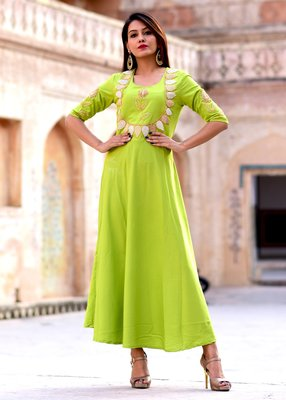 Green embroidered crepe kurtis