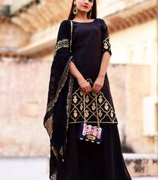 Black Embroidered Crepe Kurta With Palazzo