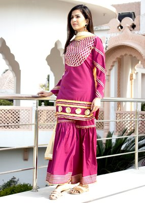 Magenta Embroidered Crepe Kurta With Sharara