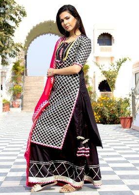 Black Embroidered Crepe Kurta And Skirt Set