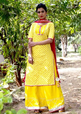 Yellow Embroidered Crepe Kurta With Palazzo And Dupatta Set