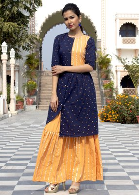 Blue Embroidered Cotton Kurta And Skirt Set