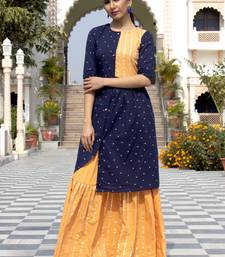 Blue Embroidered Cotton Kurta And Skirt Set