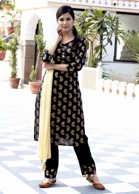 Black printed cotton kurta and trouser set