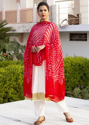 White Embroidered Crepe Kurta And Trouser With Dupatta
