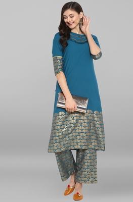 Janasya Women's Turquoise Crepe Kurta With Pant