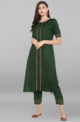 Janasya Women's Dark Green Rayon Kurta With Pant