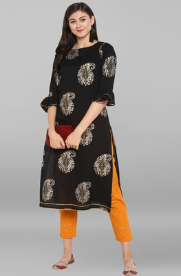 Janasya Women's Black Cotton Kurta With Pant