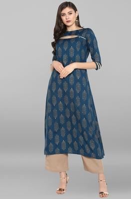 Janasya Women's Blue Rayon Kurta With Pant