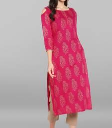 Janasya Women's Pink Rayon Kurta With Pant