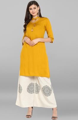 Janasya Women's Yellow Rayon Kurta With Palazzo