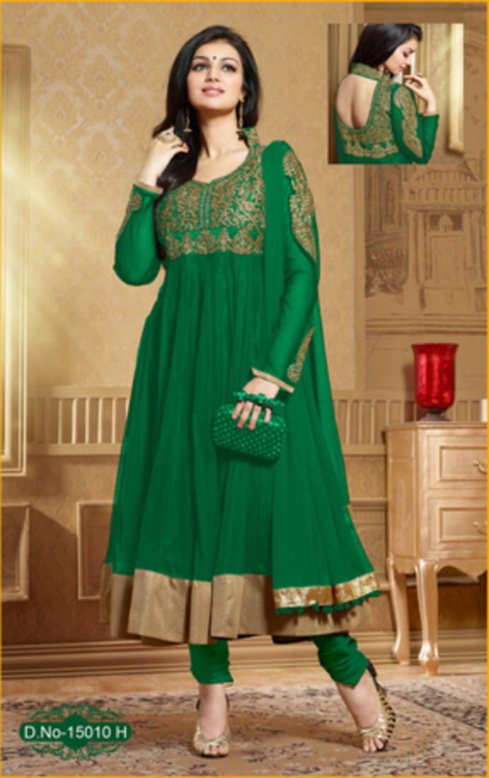 Top Online Magazines 2015: Green Embroidered Net Semi-stitched Salwar With Dupatta