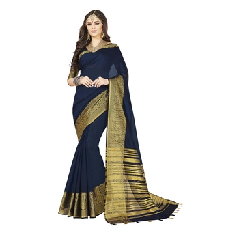 Blue woven chanderi silk saree with blouse