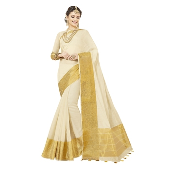 White woven chanderi silk saree with blouse