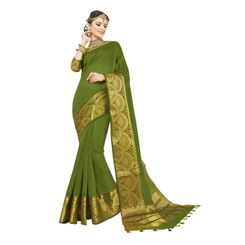 Green woven chanderi silk saree with blouse