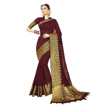Maroon woven chanderi silk saree with blouse