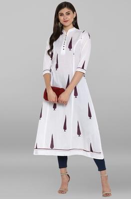 White printed cotton kurtis