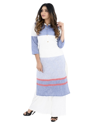 Blue printed cotton kurtis