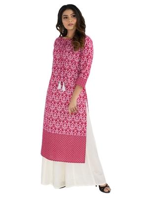 Pink printed cotton kurtis