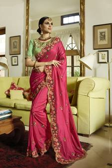 3457a635f90e1 Rani pink embroidered silk blend saree with blouse