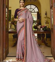 Light wine embroidered silk blend saree with blouse