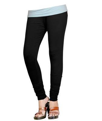 Black Cotton Churidar Leggings for Women's and Girl's (Free Size)