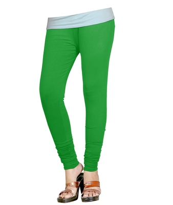 Green Cotton Churidar Leggings for Women's and Girl's (Free Size)