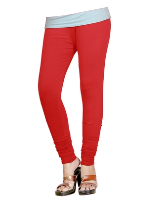 Red Cotton Churidar Leggings for Women's and Girl's (Free Size)