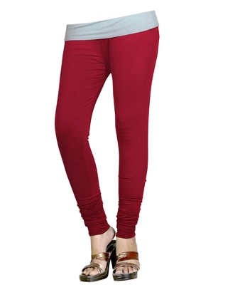 Maroon Cotton Churidar Leggings for Women's and Girl's (Free Size)