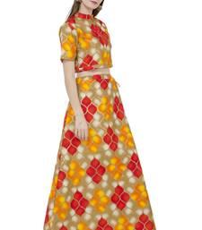 Multicolor printed silk stitched lehenga