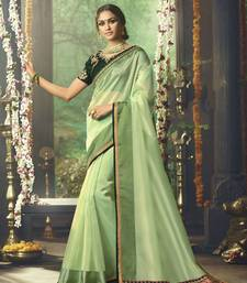 Buy Light parrot green embroidered art silk saree with blouse designer-embroidered-saree online