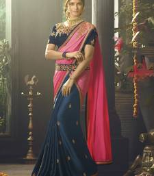 Buy Dark blue embroidered crepe saree with blouse designer-embroidered-saree online