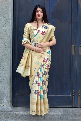 Off white woven banarasi silk blend saree with blouse