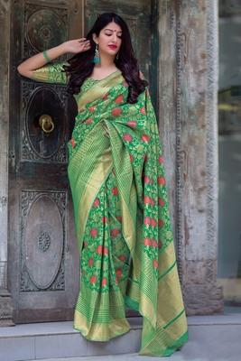 Green Woven Banarasi Silk Blend Saree With Blouse
