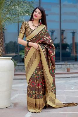 Coffee woven banarasi silk blend saree with blouse