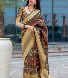 Coffee woven banarasi silk blend saree with blouse