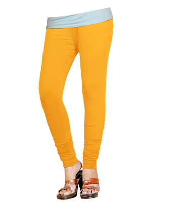 Yellow Cotton Churidar Leggings for Women's and Girl's (Free Size)