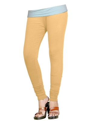 Beige Cotton Churidar Leggings for Women's and Girl's (Free Size)