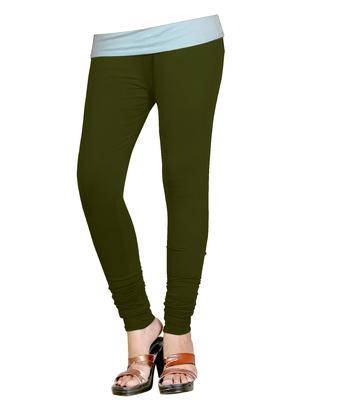 DarkOliveGreen Cotton Churidar Leggings for Women's and Girl's (Free Size)