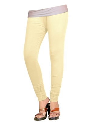 Cream Cotton Churidar Leggings for Women's and Girl's (Free Size)