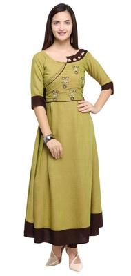 Green embroidered rayon long kurti