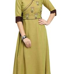 Green embroidered rayon long kurti