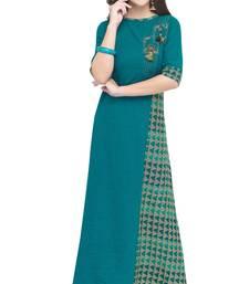 Turquoise printed rayon long kurti