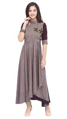 Wine plain rayon long kurti
