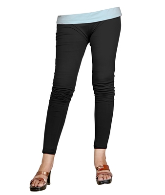 Black Cotton Ankle Length Leggings for Women's and Girl's (Free Size)