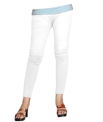 White Cotton Ankle Length Leggings for Women's and Girl's (Free Size)
